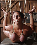 Naked, roped, suspended, clamped, hogtied