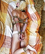 Heavy roped, hogtied, tight cleavegagged, tit-grabbed