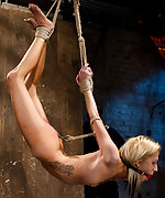 Suspension, anal hook, tight gag, heavy nipple weights