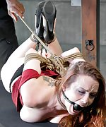Bella roped, hogtied, chair-tied, forced to cum