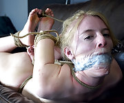 Tight roped bondage, suspension, clamps, dildo