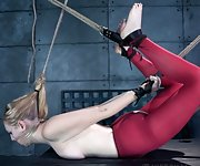 Blond cuffed, restrained, pushed into subspace