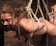 Kirra in her first bondage and suspension
