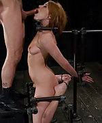 Dana bound, helpless to stop the brutal face fucking